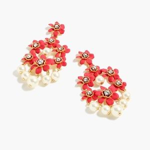 New JCREW Pearl Crystal Floral Chandelier Earrings
